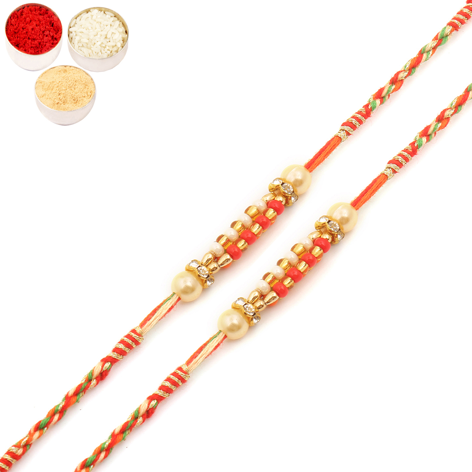 Set of Two 9710 Pearl Rakhi For Brother