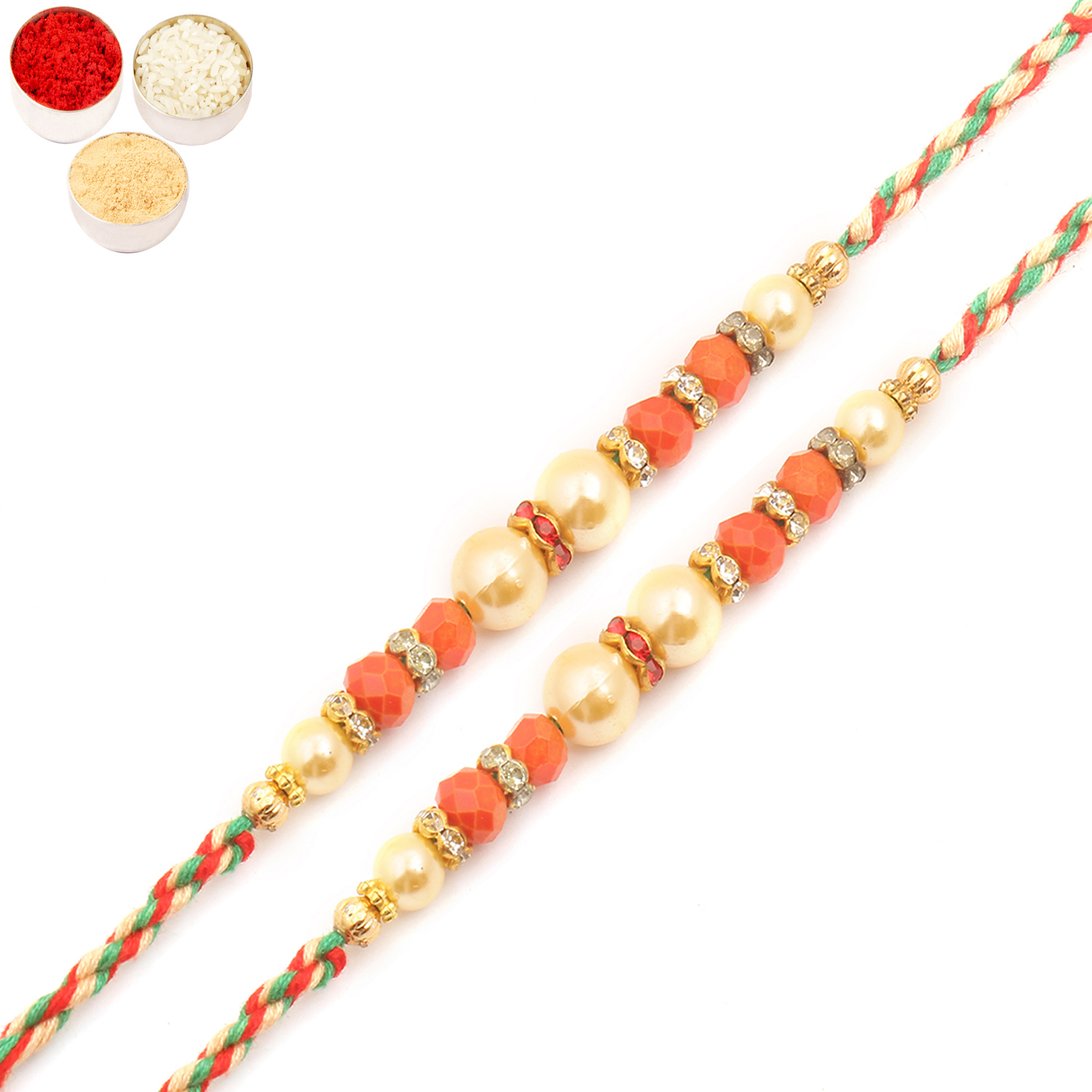 Set of Two MMR252 Pearl Rakhi For Brother