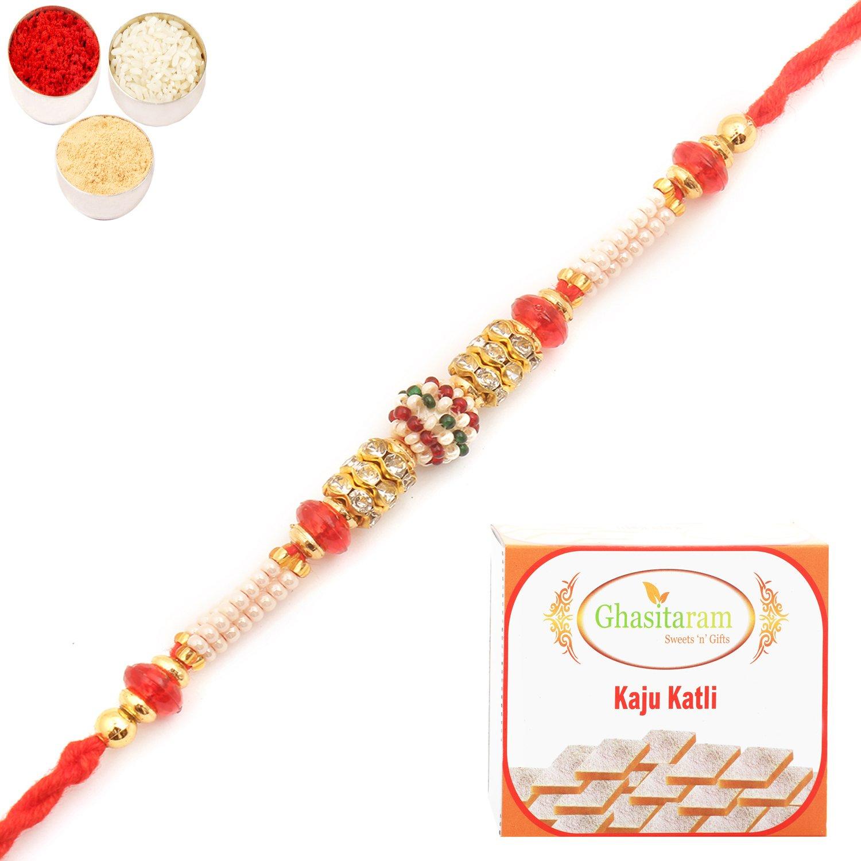 MMR59 Pearl Rakhi For Brother n 400Gm Kaju Katli