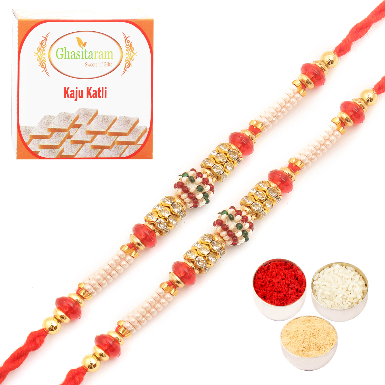 Set of Two  MMR59 Pearl Rakhi For Brother n 200Gm Kaju Katli