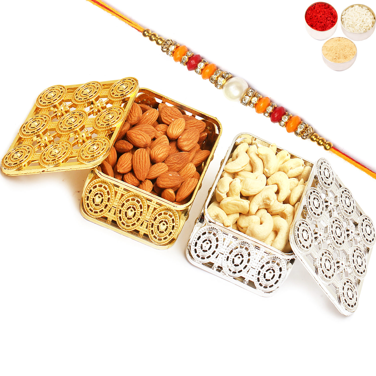 Silver and Gold Almonds and Cashews Boxes with Pearl Diamond Rakhi