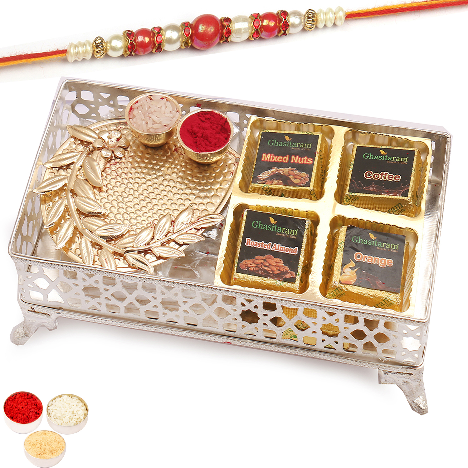 Silver Small Metal Assorted 4Pcs Chocolates Tray and Pooja Thali with Red Pearl Rakhi