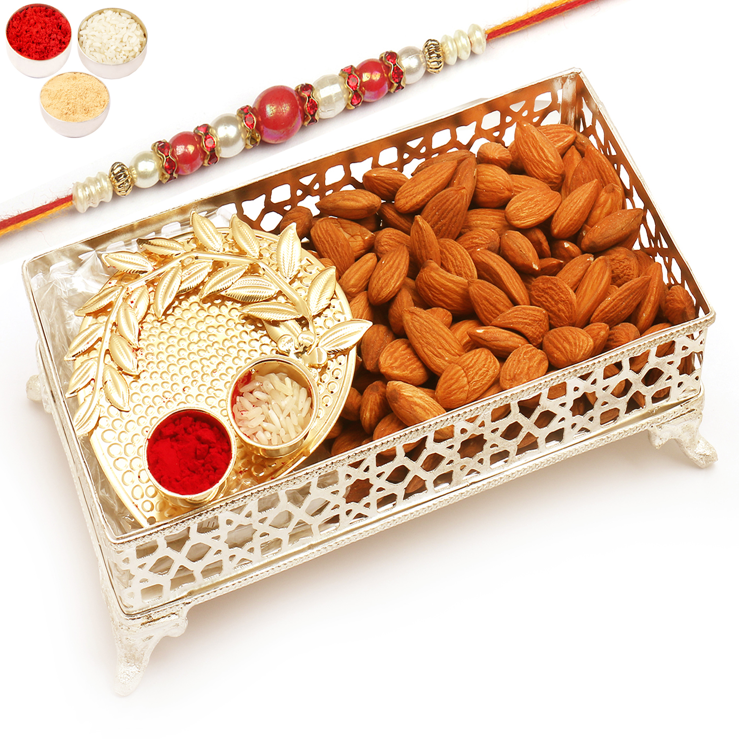 Silver Small Metal Tray filled with Almonds and Pooja Thali with Red Pearl Rakhi