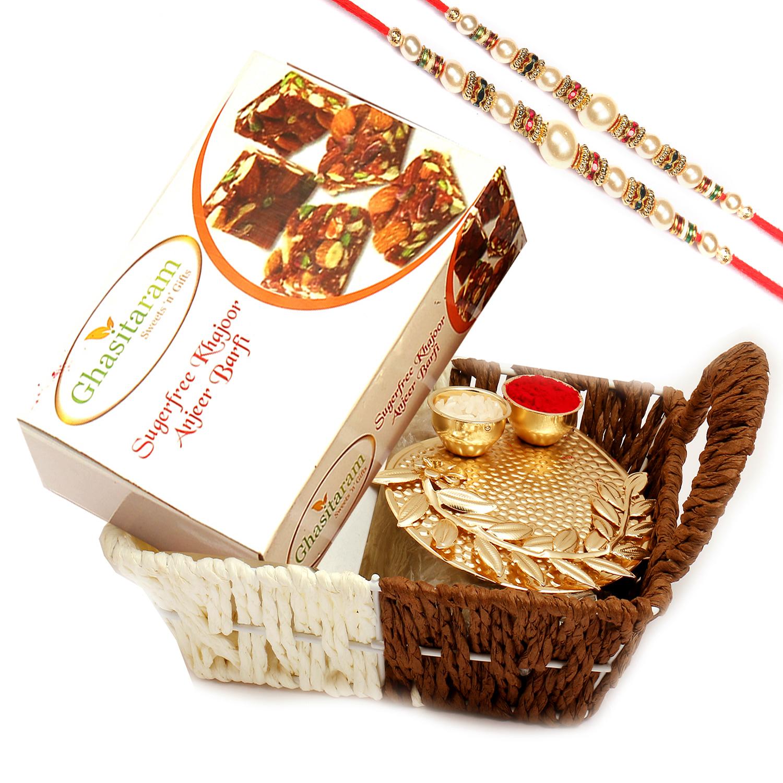 Small Metal Brown Basket Of Sugarfree Bites and Pooja Thali with 2 Pearl Rakhis
