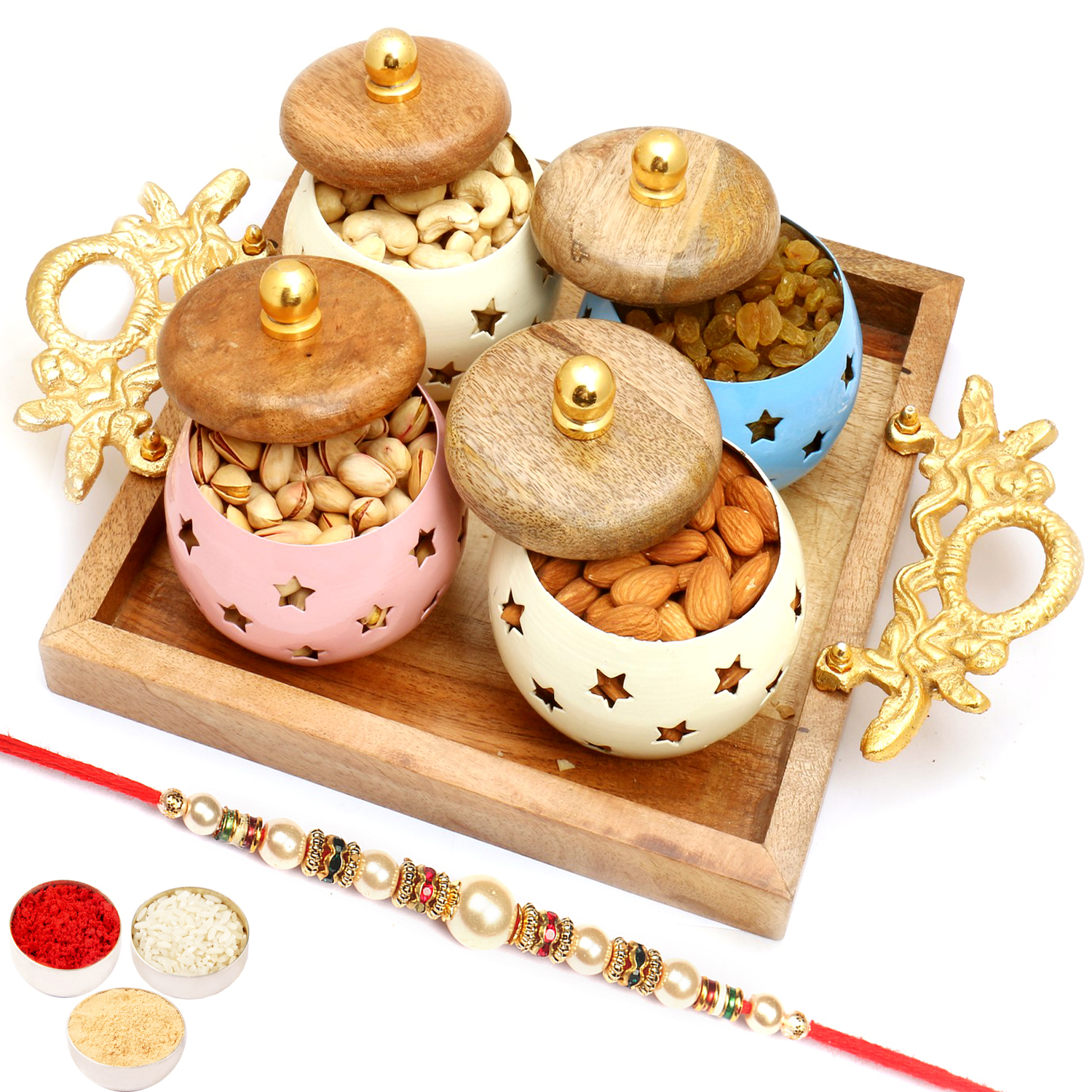 Square Wooden Platter with 4 Dryfruits Jars with Pearl Rakhi