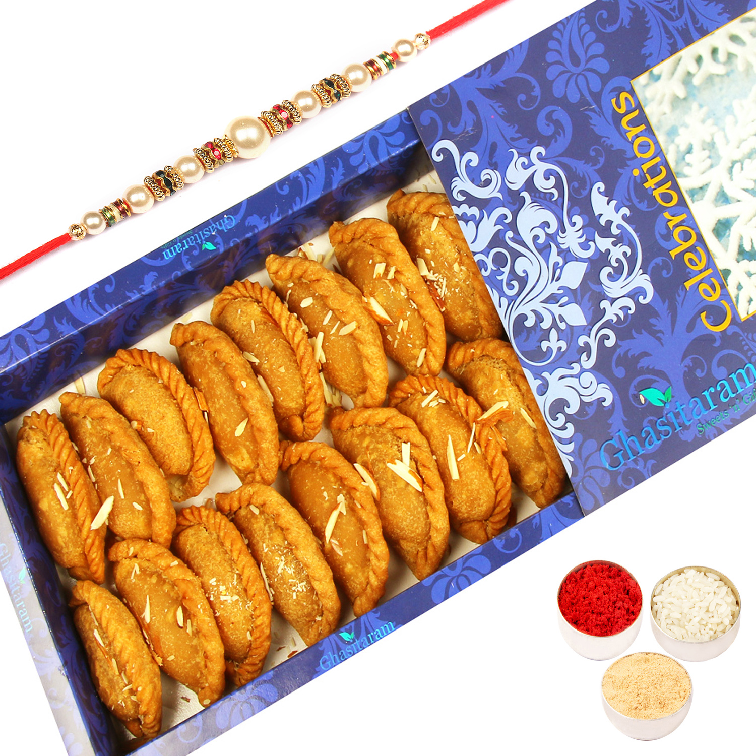 Healthy Wheat Gujiya 200Gm with Pearl Rakhi