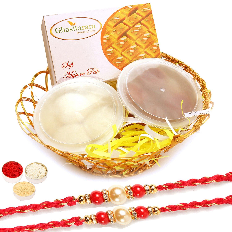 2 Pearl Rakhis with Gold Wired Basket of Rasgulla, Gulab Jamun and Soft Mysore Pak