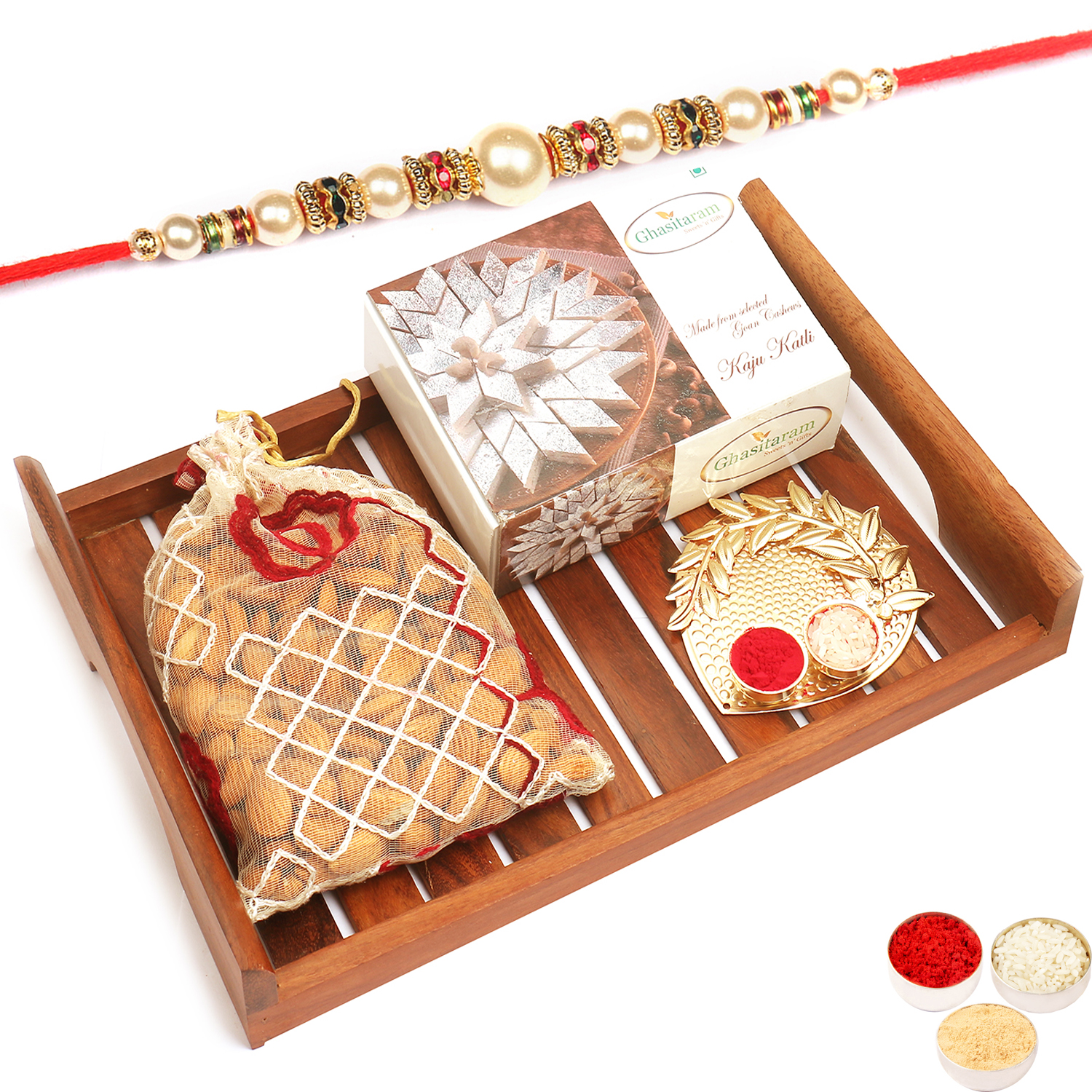 Wooden Serving Tray with Kaju Katli Almonds and Pooja Thali with Pearl Rakhi