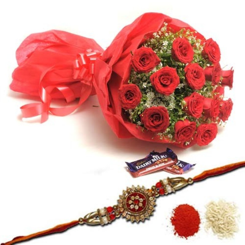 12 Red Roses with Rakh and Two Fruit n Nut Chocolates