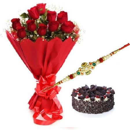 Rakhi with 1 Kg Black Forest Cake n Roses