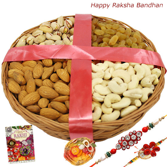 Rakhi and 1Kg Dry Fruits Basket