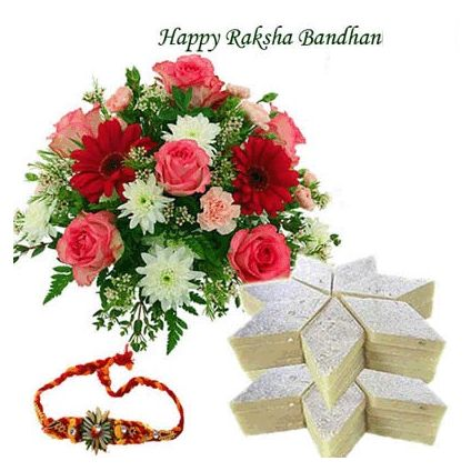 Rakhi with Mix Flowers n Kaju Katli