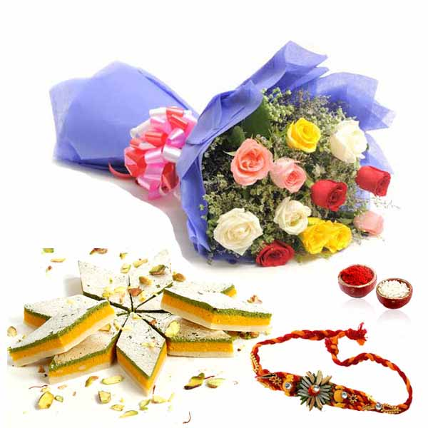 Rakhi with 12 Mixed Roses and 500gms Kaju Katli