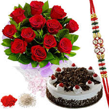 Rakhi with Roses n Black Forest Cake