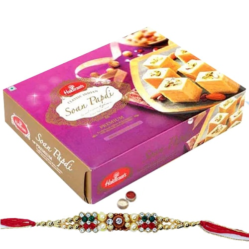 Rakhi with 500 gms Soan Papdi