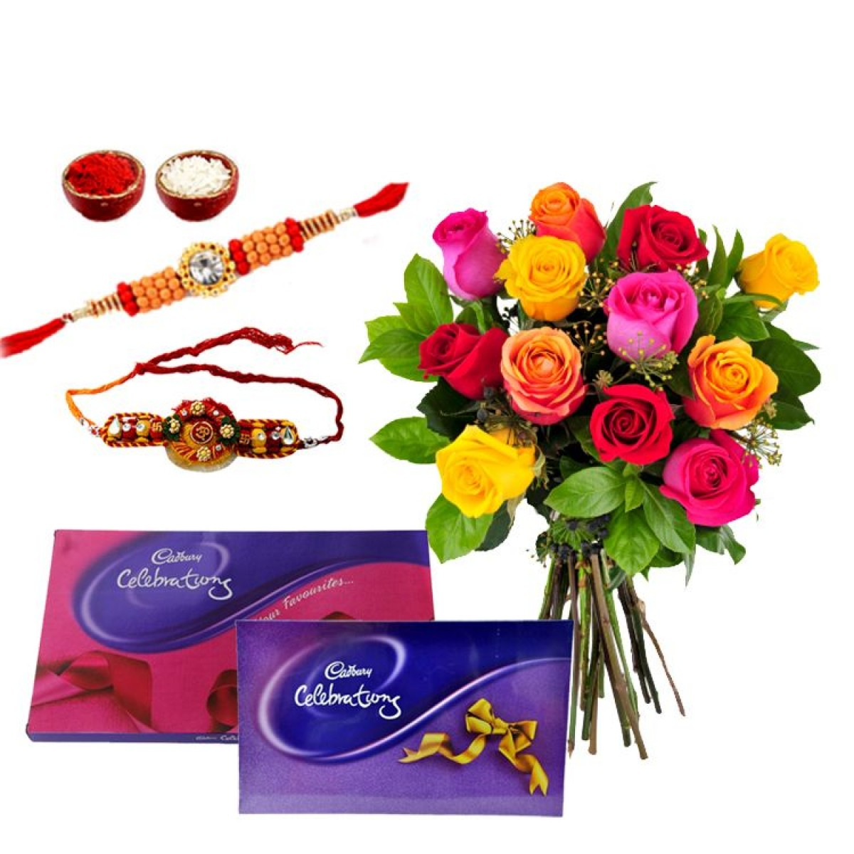 Rakhis with Mix Roses n Celebration