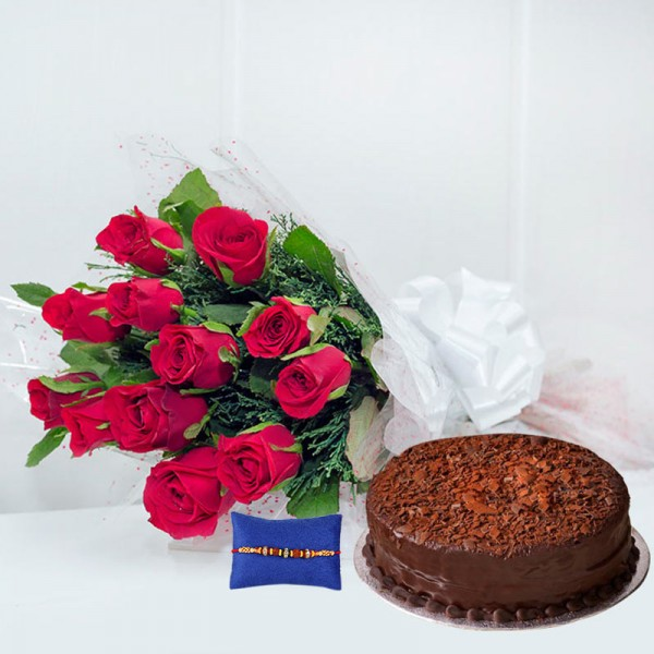 Rakhi with 12 red Roses n 1/2Kg Chocolate Cake