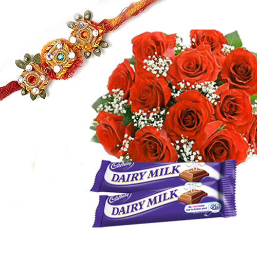 Rakhi with 12 Red Roses Bunch and Two Dairy Milk Chocolates