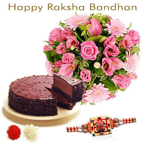 Pink Flowers with Rakhi n Chocolate Cake