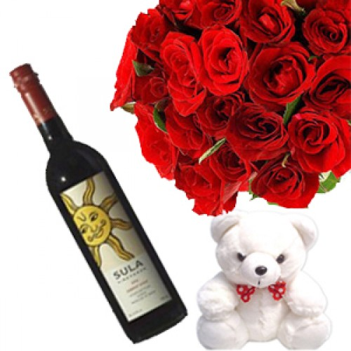 12 Red Roses with Sula Wine
