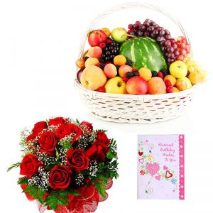 Red Roses with Fruit Basket