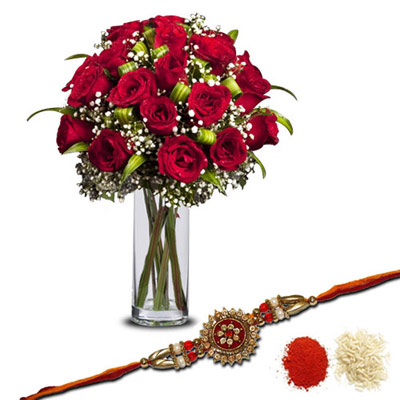 Rakhi with 20 Red Roses in a Glass Vase