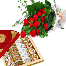 12 Red Roses with 1/2Kg Mixed Sweets