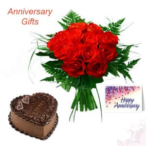 12 Red Roses n 1Kg Heart Shape Cake