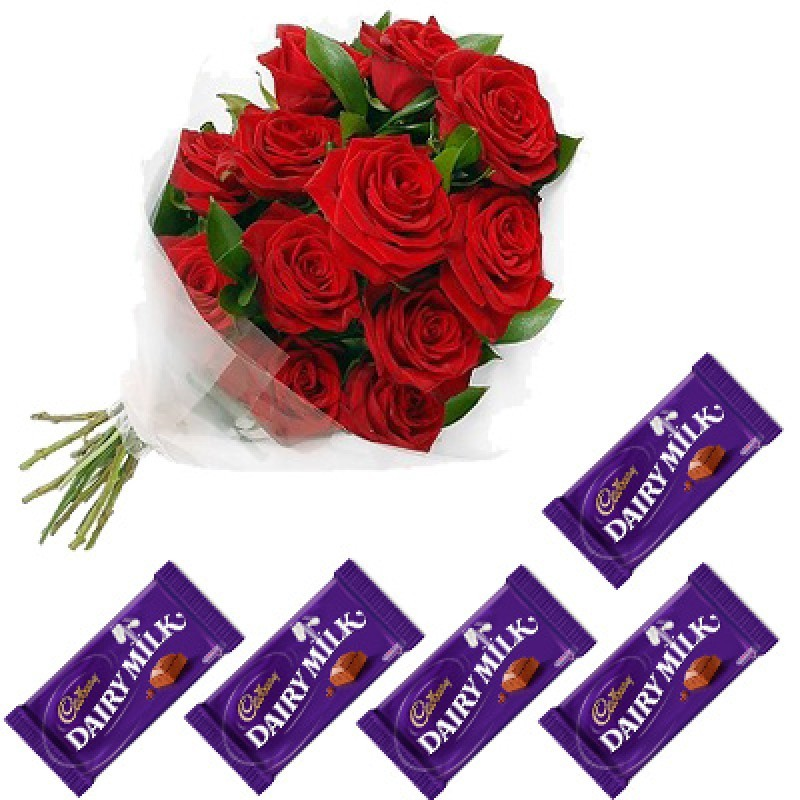 Dairy Milk Chocolates With 12 Red Roses
