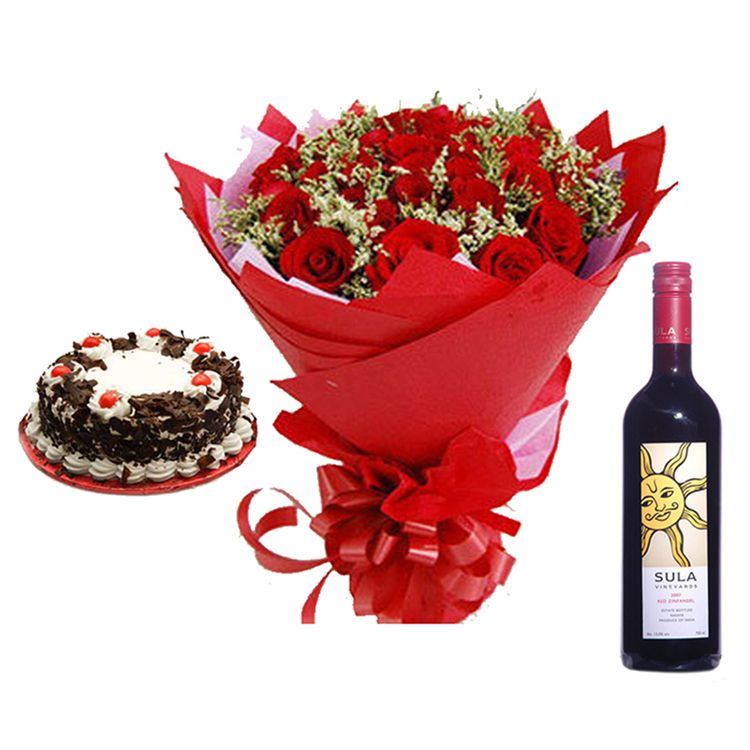 Black Forest Cake with Roses n Wine