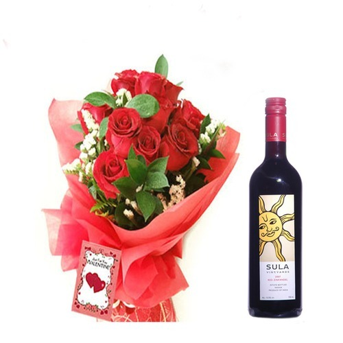 12 Red Roses n Sula Red Wine