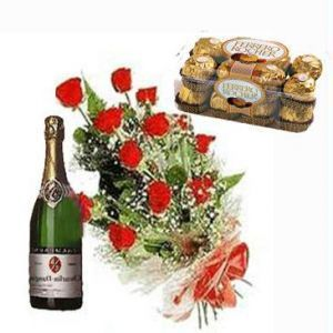 Red Roses With Choco n Champagne