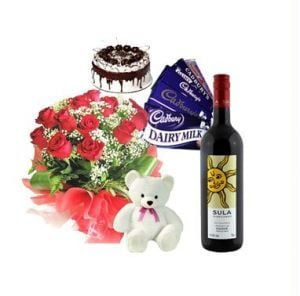 Roses With Teddy, Chocolates, Cake n Wine