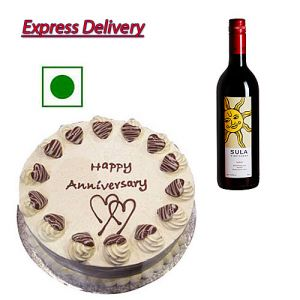 Red Wine with 1/2Kg Vanilla Cake