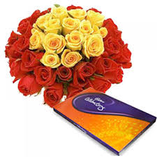 Bunch of 30 Red and Yellow Roses with Celebrations