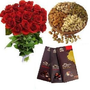 Roses with Dry Fruits n Bournville Chocolates