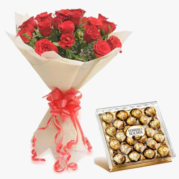 12 Red Roses with 24Pcs Ferrero Rocher Chocolates