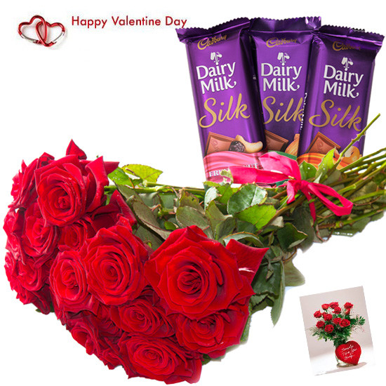 Bunch Of 12 Red Roses with Dairy Milk Silk n Valentines Greeting Card