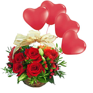 12 Red Roses Basket with Red Heart Shape Balloons