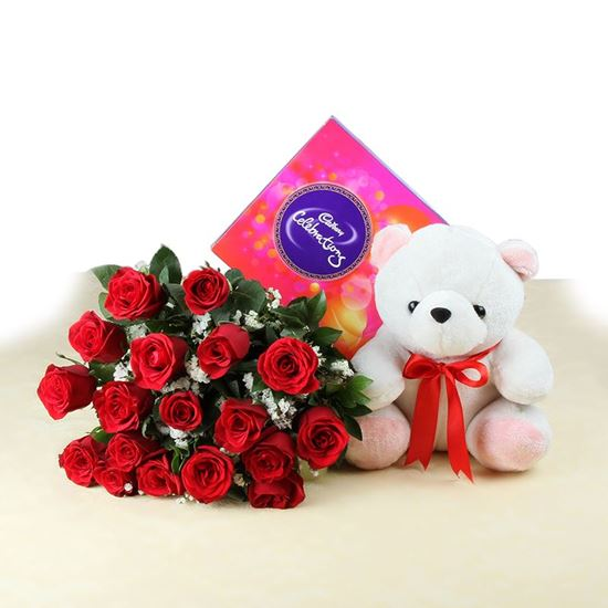 20 Red Roses with Celebration Chocolates and Teddy