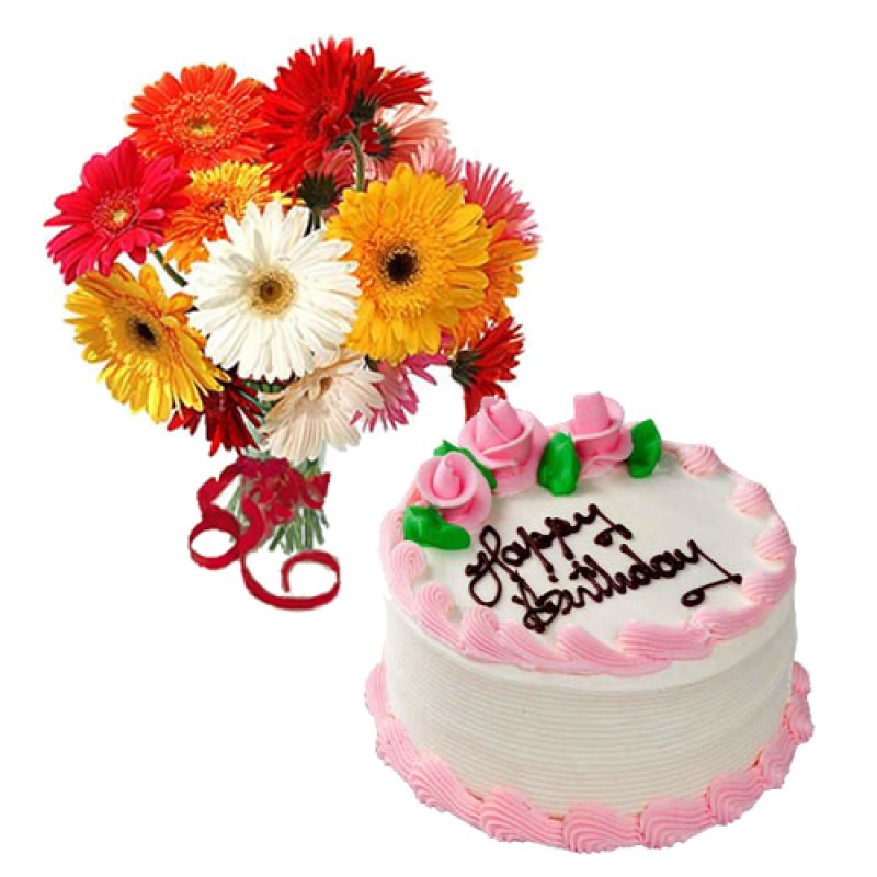 Mix Gerberas With Strawberry Cake