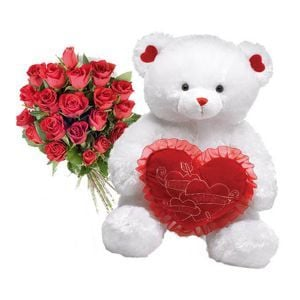 2ft Teddy Bear With 12 Red Roses Bunch