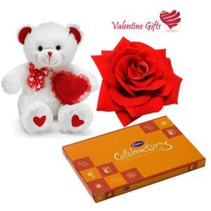 Single Red Rose With Teddy n Celebration Chocos