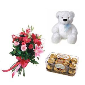 Mix Flowers with Teddy n Rocher Chocolates