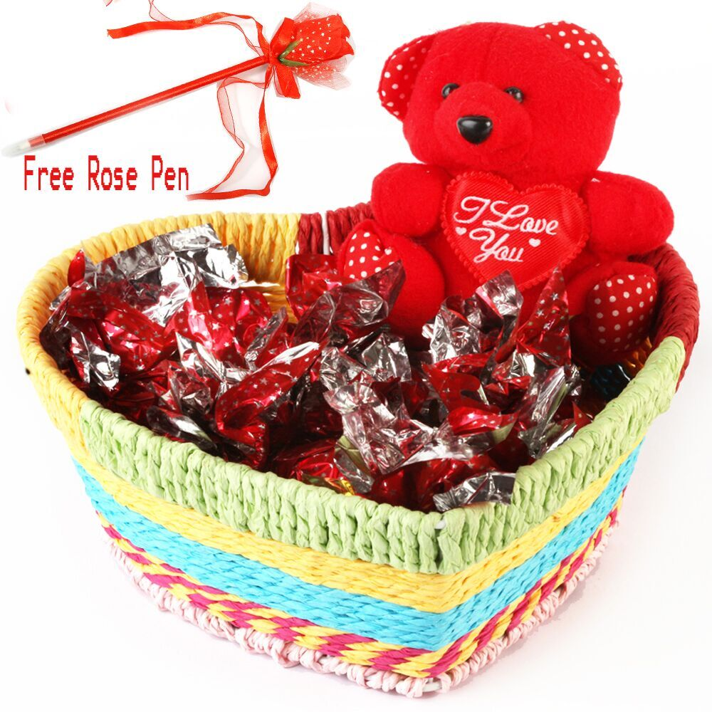 Heart Basket with Teddy and Chocolates