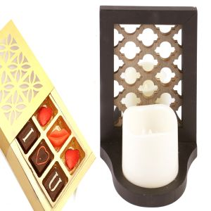 Led Candle Stand Cum Photo Frame n I Love U Chocol