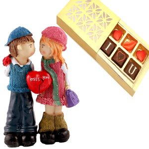 Half Heart Couple with I Love U Chocolate Box