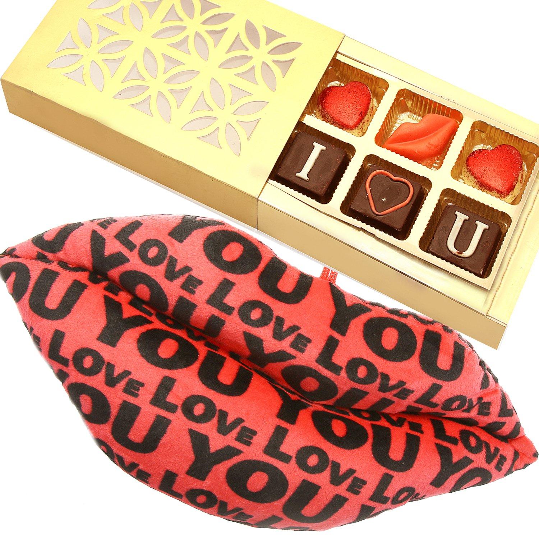 Valentine Lips Pillow with Valentine Chocolate Box