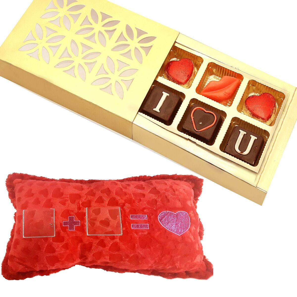 Photo Pillow with Valentine Chocolate Box