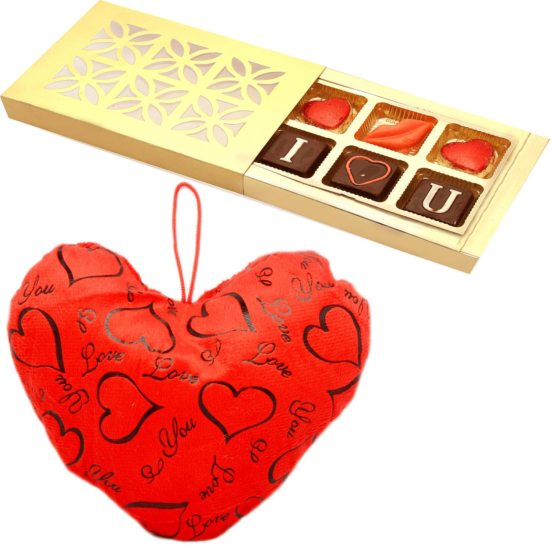 Heart Cushion Small with Valentine Chocolate Box